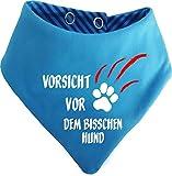 KLEINER FRATZ Gestreiftes Hunde Wende- Halstuch (Fb: Aqua-kobald) (Gr.3 - HU 36-42 cm) Vorsicht vor Dem Bisschen Hund