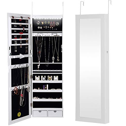 Bakaji specchiera portagioie da parete o dietro porta armadietto portagioielli specchio con anta porta oggetti luci a led e cassetti armadio organizer porta gioielli colore bianco (giulia led)