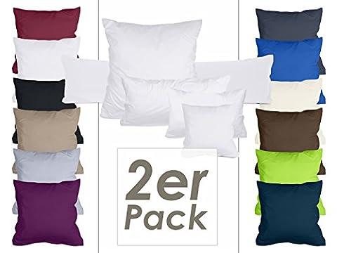 Doppelpack Kissenbezüge aus sanforisiertem Baumwoll-Jersey zum Sparpreis - in dezentem Design - 10 dekorativen Farben und 4 Größen, 40 x 80 cm, weiß