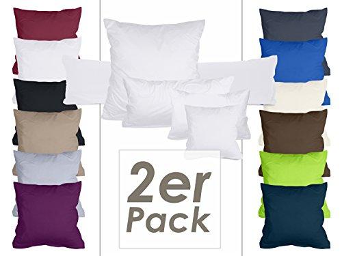1 Stück Bettbezug (Doppelpack Kissenbezüge aus sanforisiertem Baumwoll-Jersey zum Sparpreis - in dezentem Design - 10 dekorativen Farben und 4 Größen, 80 x 80 cm, weiß)