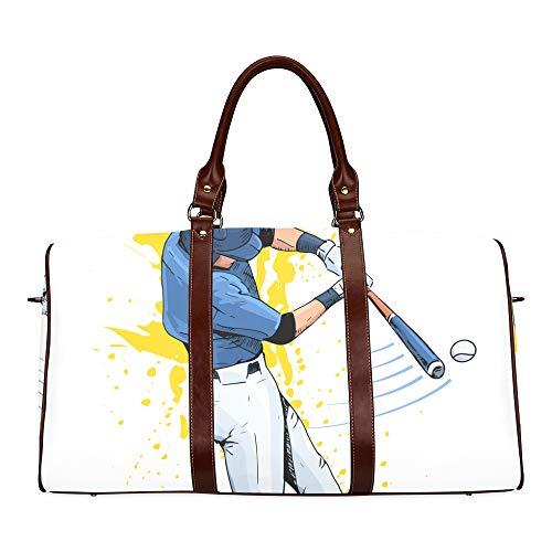 Reise-Seesack Baseball-Spieler schlägt den Ball wasserdichte Weekender-Tasche Reisetasche Frauen Damen-Einkaufstasche Mit Mikrofaser-Leder-Gepäcktasche