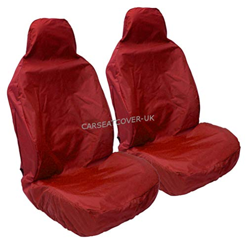 Carseatcover-UK® Coprisedili resistenti e impermeabili, colore rosso-2 anterio