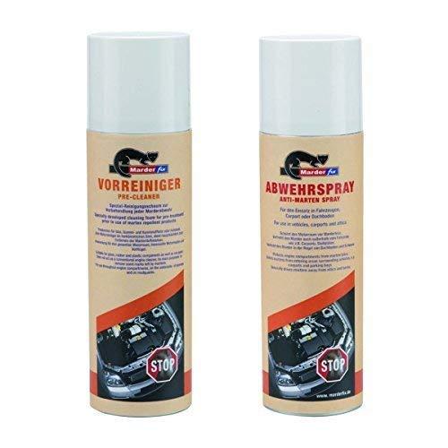 MarderFix Vorreiniger und Abwehrspray je 300 ml - Reinigungsschaum zur Enfernung der Marder Duftmarke - Marderspray als Marderabwehr, Marderschreck
