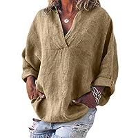 WSPLYSPJY Womens Long Sleeve Solid Linen V Neck Blouse Plus Size Shirts Tops Khaki XXS