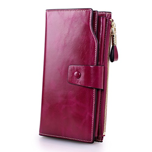 - 41D06rlmzDL - BIG SALE-70% OFF-Yafeige Women's Large Capacity Oil wax cowhide Leather Purse Genuine Leather Wallet With Zipper Pocket(Purple)