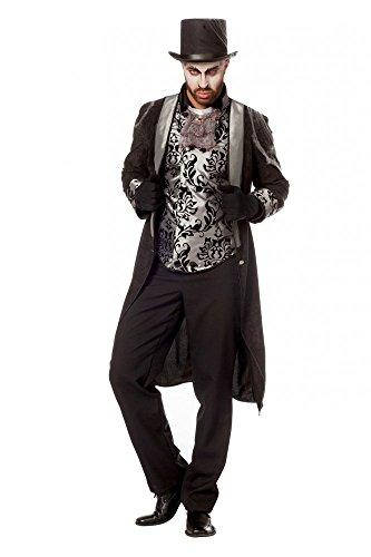 Frack mit Weste im viktorianischen Stil Schwarz/Silber Mantel Edelmann Halloween Vampir, Größe:54