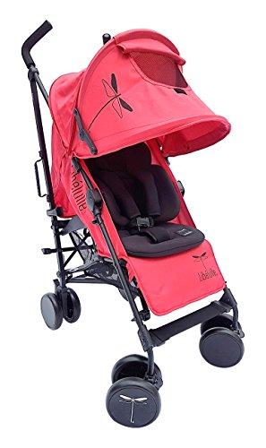 libelulle kikoé 2.0Pack Reduzierstück Kinderwagen Gehstock Farbe Rot Aluminium-Chassis für 0/4Jahre + Sitzverkleinerer Micro Faser für 0/18Monate