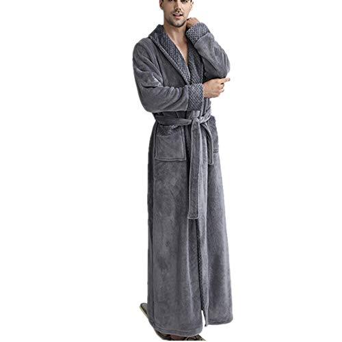 DUJUN Herren Bademantel aus Coral Fleece mit Nachthemd, Herren Bademantel aus Mikrofaser (100% Polyester), 2 Taschen, Kleid mit Gürtel und Schnalle - weiches und bequemesgrauesL -
