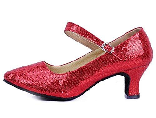 Dayiss® Mädchen Damen Pailletten Standard Tanzschuhe Ballsaal Latein Tango mit (35, Rot)