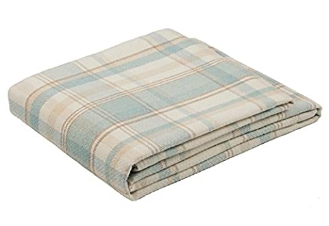 McAlister Textiles Heritage | Traditional Harris Tweed Thick Woven Wool Duck Egg Blue and Cream Tartan Throw and Picnic Blanket |