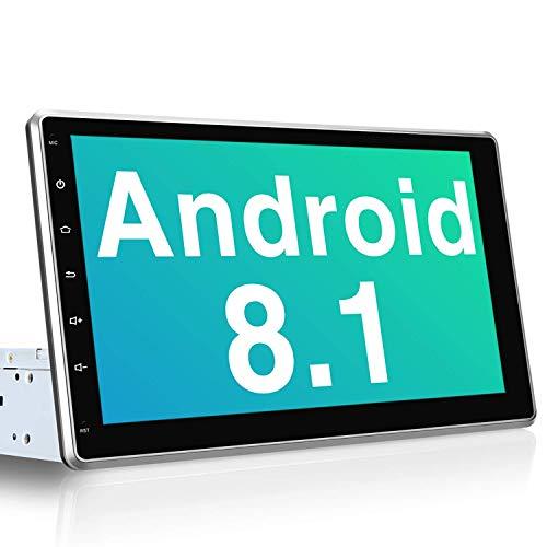 PUMPKIN Android 8.1 Autoradio Moniceiver mit Navi 10,1 Zoll IPS Bildschirm Unterstützt Bluetooth DAB + USB Android Auto WiFi 4G 1 Din 2 Din Universal