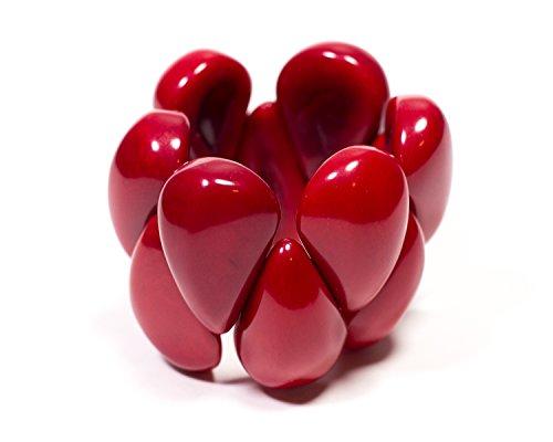 rmband Armreif Raindrops aus echter Tagua Kokosnuss Luxury Boho Style rot Bio Geschenk (Rot) (Armbänder Rot)