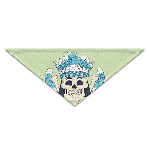 Wfispiy Tribal Cute Skull Feathers Hat Dog Bandanas Scarves Triangle Bibs Scarfs Funny Basic Neckerchief Cat Collars