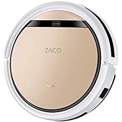 ZACO V5sPro Robot aspirador con función de limpieza, robot aspirador automático, húmedo limpiar o aspirar hasta 180 m2, para suelos duros, protección anticaída, con estación de carga, 300ml, Gold