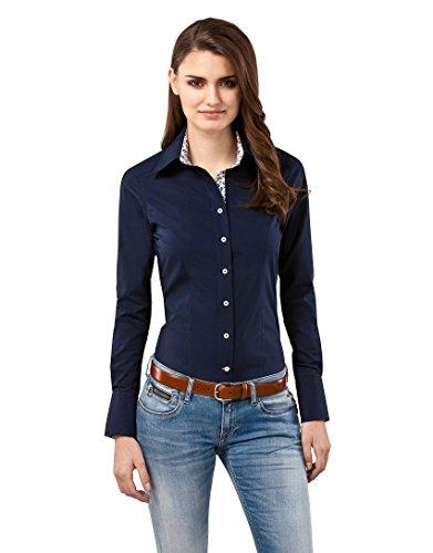 Vincenzo Boretti Damen Bluse tailliert 100% Baumwolle bügelfrei Langarm Hemdbluse elegant festlich Kent-Kragen auch für Business und unter Pullover dunkelblau 36 -