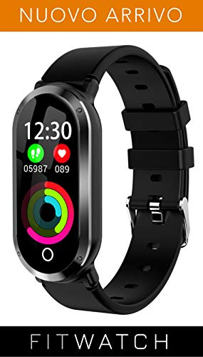 fitwatch - smartwatch compatibile iphone android samsung huawei, activity tracker compatibile android iphone samsung huawei, contapassi fitness con notifiche, cardiofrequenzimetro e contacalorie