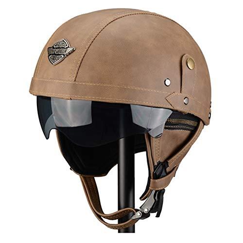 ZWL Helm, Handgefertigter Retro-Lederhelm, Halber Helm, Vier Jahreszeiten, Unisex, Geeignet für Motorrad-Elektrofahrrad, Braun,Z