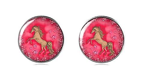 Tizi Jewellery 925 Sterling Silber Rosa Pferd Ohrring Ohrstecker 12 mm Handgemacht für Damen und Mädchen Rerfektes Geschenk oder für Party
