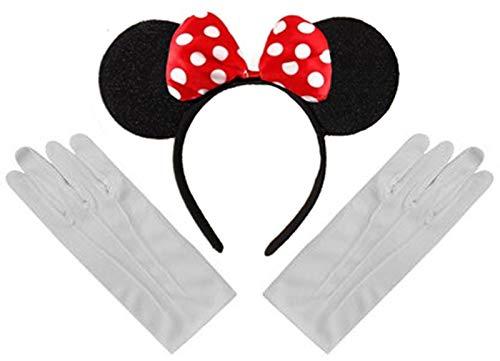 Schwarz Rot Weiß Tupfen Minnie Mouse Disney Kostüm Ohr-Stirnband und Handschuhe ()