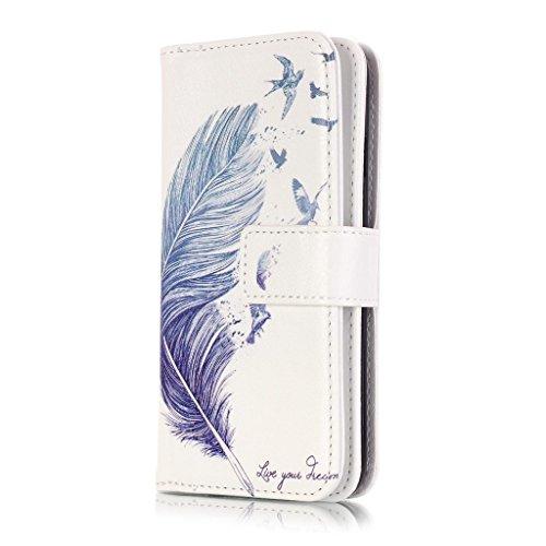 iPhone 6/6S Cover [economiche con protettore di schermo], qimmortal (TM) Premium Elegante intelligente PU Pelle Flip Magnetico Chiusura Portafoglio interno supporto Folio stile libro con carte di cred Blue feather