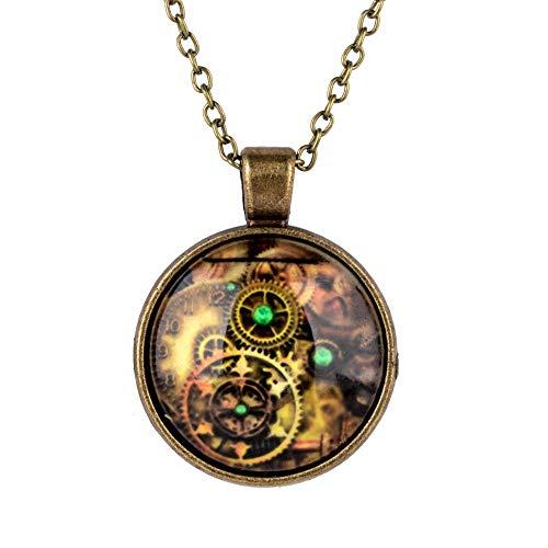 Bronze Opal Glas (XZZZBXL Damenhalskette Vintage Kompass Watch Cabochon Anhänger Halsketten Charme Bronze Glas Lange Kette Collier)