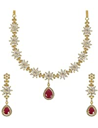 MUCH MORE Stunning Ruby Crystal Stone Floral Shape Gold Tone Necklace Set Partywear Jewellery