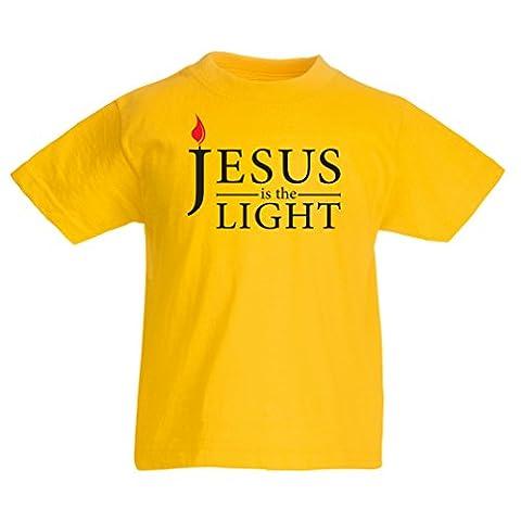 T-shirt pour enfants Jésus est la lumière - Cadeaux religieux chrétiens (9-11 years Jaune Multicolore)