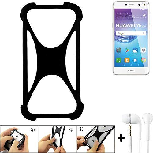 K-S-Trade Handyhülle für Huawei Y6 2017 Single SIM Schutzhülle Bumper Silikon Schutz Hülle Cover Case Silikoncase Silikonbumper TPU Softcase Smartphone, schwarz (1x), Headphones