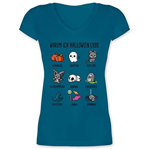 Halloween - Warum ich Halloween Liebe - M - Türkis - XO1525 - Damen T-Shirt mit V-Ausschnitt