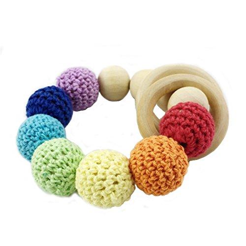 baby tete Crochet Coloré Perles en Bois Bébé Anneau de Dentition Perles Bébé sûr et Nature Allaitement Bracelet Montessori Jouets Bébé Organique Hochet