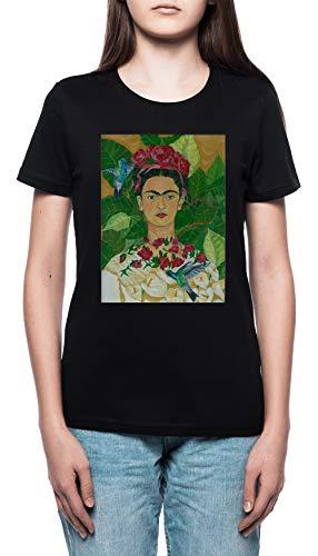 Frida En Cielo - Frida Kahlo Mujer Camiseta Cuello Redondo Negro Manga Corta Tamaño XXL Women's Black T-Shirt XX-Large Size XXL