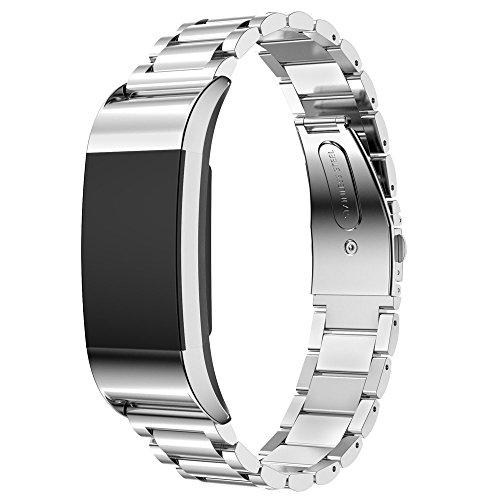 EloBeth für Fitbit Charge 2 Armband, Edelstahl Replacement Wrist Band Uhrenarmband mit Metallschließe Uhrenarmband für Fitbit Charge 2(Stainless Silber)