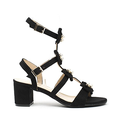 Ideal Shoes , Sandali donna, Nero (nero), 36
