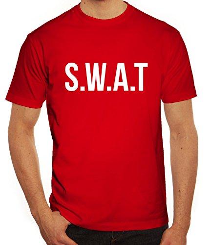 Fasching Karneval Herren T-Shirt mit SWAT Kostüm 1 Motiv von ShirtStreet Rot