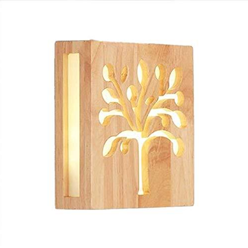 Oevina Modern LED Holz Nachtwandleuchte, Innen Moderne Wandveranda Licht Wandleuchte für Wohnzimmer Schlafzimmer Gang 12 watt Warmes Licht 3000k-20x20x5,5 cm (Color : 20x20x5.5cm(7.9x7.9x2.2in)) - 12 Moderne Landschaft Beleuchtung