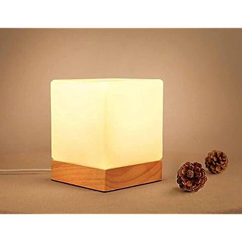 SSBY Lámparas de mesita cristal dormitorio, creativo de calidad de la madera sólida, cuadrado botón estilo lámpara de