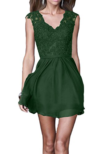 ivyd ressing Donna Elegant a linea Chiffon & pizzo scollo a V abiti party damigella d' onore abito Prom abito da sera Verde