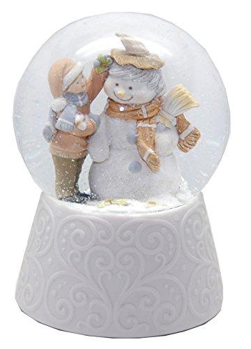 20088 Nostalgie-Schneekugel mit weißem Porzellan-Sockel Kind baut Schneemann Spieluhr 10cm Durchmesser