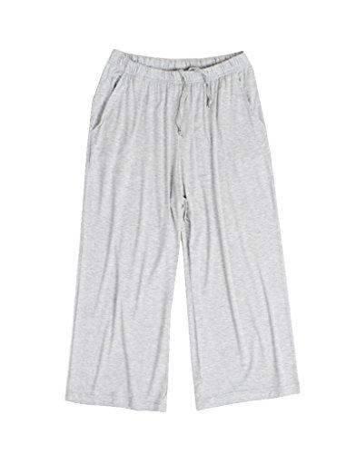 Vopmocld Damen Capri-Hose, weiche Schlafhose, Freizeithose mit Taschen L=US 12-14(Tag 3XL) grau -