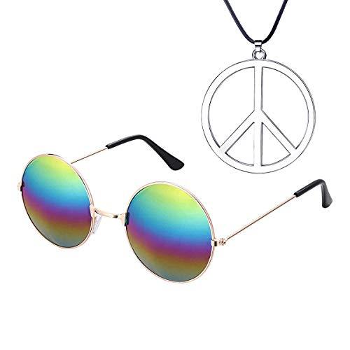 Funhoo 2-TLG. Hippie Accessoires Set Brille und Kette mit Friedenszeichen für Halloween Kostüm 60s 70s Party Outfit Zubehör