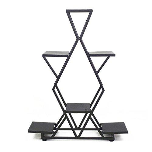 HTZ Stand De Fleurs Noir Européen Intérieur Multi-niveau Salon Balcon Stand De Fleurs Étage Type Support De Pot Sans Assemblage 80x20x105CM ++