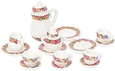 New trends Dongzhur Porcelain Dish Pot Tray Cups Teapot Dollhouse Miniature Mini Printing Coffee Tea Set 1:12 Kitchen Dropship