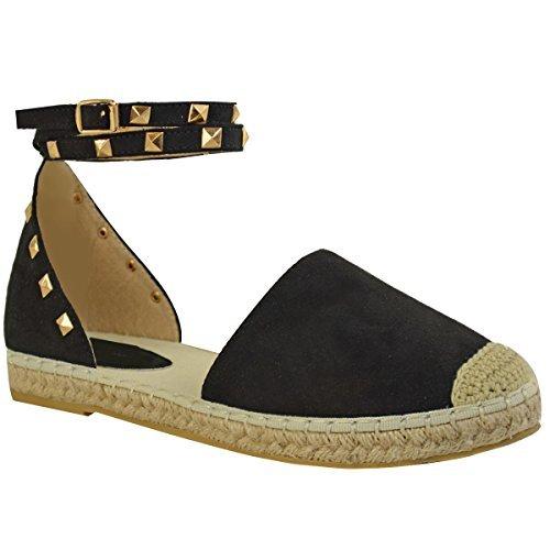 Fashion Thirsty Donna Espadrillas Caviglia con Spalline Sandali Bassi, Estivi BORCHIA Rock Scarpe Numeri - Nera Pelle Scamosciata, 40
