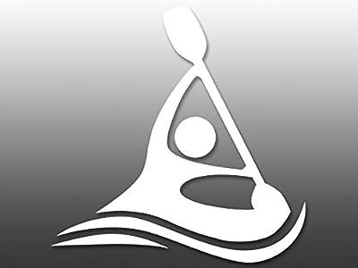 White Vinyl ABSTRACT Kayaker Logo Sticker (no background kayak kayaking) by American Vinyl