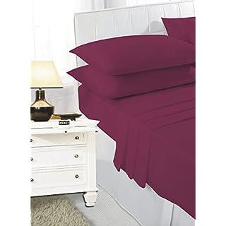 bemode Drap de lit Plat 100% Coton peigné Uni Uni Teinte hôtel Haute Fils Qualité égyptienne Simple Double Super King, 100% Coton, Bordeaux, Simple