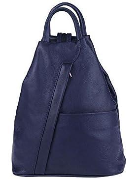 OBC Made in Italy Damen echt Leder Rucksack Lederrucksack Tasche Schultertasche Ledertasche Daypack Backpack Handtasche...