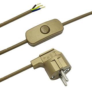 Zuleitung mit Stecker und Schalter 2 Meter Gold Anschlusskabel Netzkabel Stromkabel mit Schnurzwischenschalter und Winkelstecker 3x0,75qmm 250V G Länge 2000mm