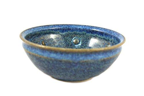 korium Rasierseifenschale Blue Bubbles - Keramik Rasierschale zum Rasierseife aufschäumen - Handgefertigt Made in Germany - Durchmesser 11,5 cm