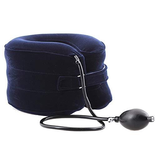 RRAWOX Hals Zugvorrichtung - Aufblasbare Halskragen/Nackenstütze - Zervikale Traktion Nackenkissen gegen Kopf- und Schulterschmerzen - mit Verstellbarer Größe, größerer Pumpe (Blau) (Kopf Traktion)