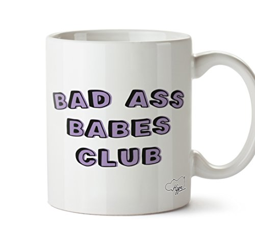 hippowarehouse Bad Ass Babes Club 10oz, keramik, Purple and Teal, One Size (10oz) Zumba-tutorial
